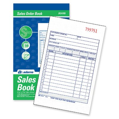Adams Business Forms Carbonless Sales Order Book, 3-Part Carbonless, 4-3/16 x 7-3/16, 30 Sheets