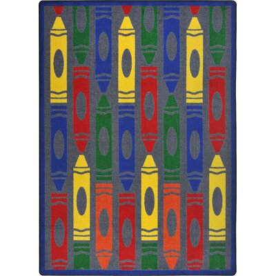 Joy Carpets Playful Patterns Jumbo Crayons Kids Rug
