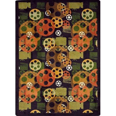 Joy Carpets Gaming and Entertainment Blockbuster Plum Novelty Rug