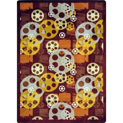 Joy Carpets Gaming and Entertainment Blockbuster Burgundy Novelty Rug