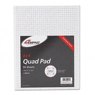 AMPAD Corporation 15lb Quadrille Pad with 4 Squares/Inch, Ltr, White, 50 Sheets