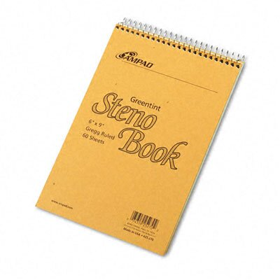AMPAD Corporation Spiral Steno Book, Gregg Rule, 6 X 9, 60 Sheets