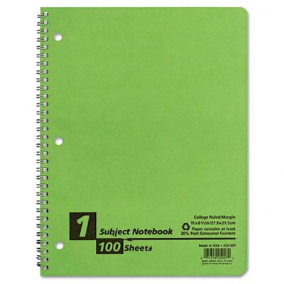 AMPAD Corporation Earthwise By Oxford Twin Wire Subject Notebook, College/Med Rule, 8-1/2 X 11, We, 100 Sheets