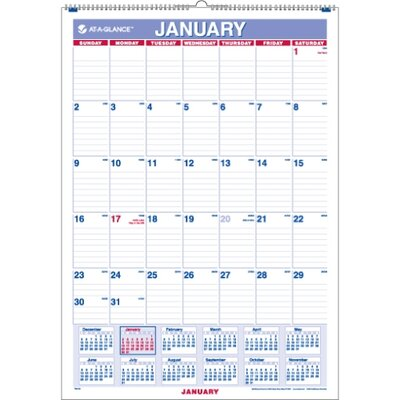 "At-A-Glance One-Page-Per-Month Wall Calendar, 12 Months Jan/Dec 2013, 12""x17"", Red/White/Blue, 2013"