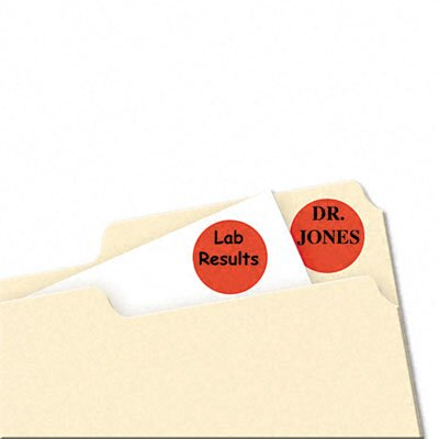Avery Consumer Products Print/Write Adhesive Removable Labels, 3/4 dia, Red Neon, 1008/Pack                                                          