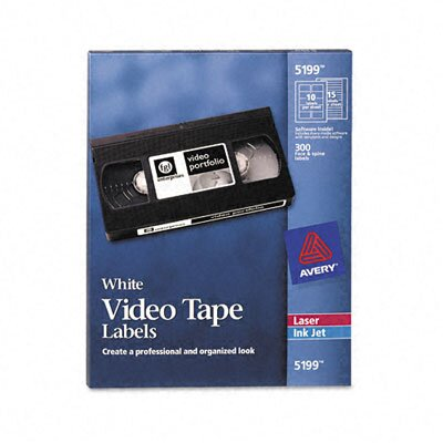 Avery Consumer Products Video Tape Printer Labels, 300 Each Face & Spine Labels/pack