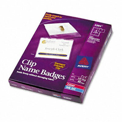 Avery Consumer Products Badge Holders with Laser/Inkjet Inserts, 40/Box