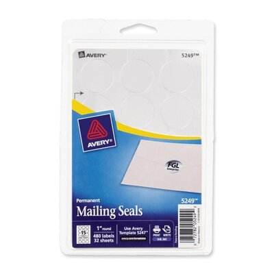 "Avery Consumer Products Label, 1"" Mailing Seal, 480/PK, Silver"