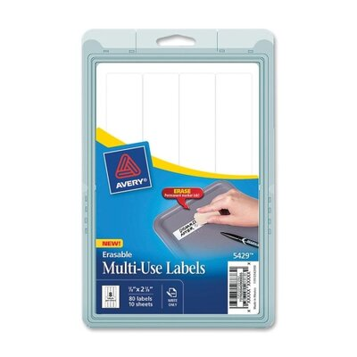 "Avery Consumer Products Label, Erasable, 7/8""x2-7/8"", 80/PK, White"