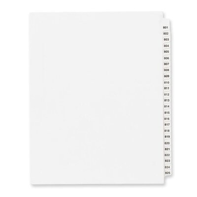 "Avery Consumer Products Index Dividers, 801-825, Side Tab, 8-1/2""x11"", 25/Set, WE"