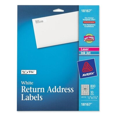 "Avery Consumer Products Return Address Label, Laser/Inkjet, 1/2""x1/3/4"", 800 per Pack, White"