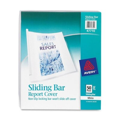 Avery Consumer Products Sliding Bar Report Cover, 20 Sheet Capacity, 50 per Box , Clear/White