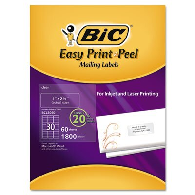 Bic Corporation Easy Print & Peel Clear Mailing Labels (900/Pack)