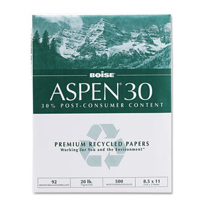 Boise® Aspen 30% Recycled Office Paper,92 Bright, 20 Lb, 8-1/2 X 11, 5000/Carton