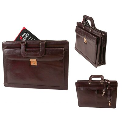 Bond Street, LTD. Leather Front Lockable Drop Handle Briefcase