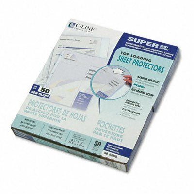 C-Line Products, Inc. Non-Glare Super Heavyweight Polypropylene Sheet Protector, 11 X 8 1/2 (50/Box)