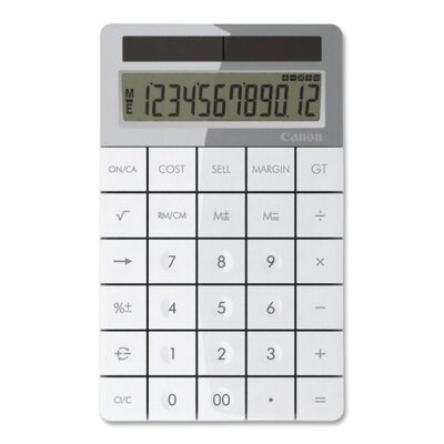 "Canon 12-Digit Calculator, Solar PoWhiter, 3-7/8""x6-1/8""x1/2"", White"