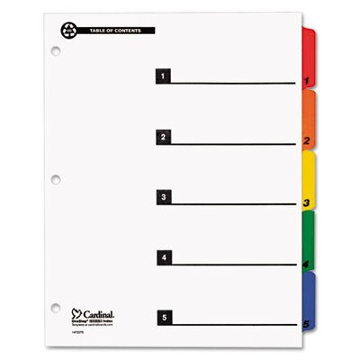 Cardinal Brands, Inc 100% Recycled OneStep Index System, Multicolor 5-Tab, 11 x 8-1/2, 1 Set
