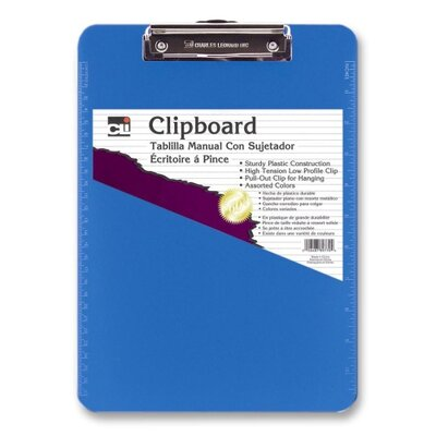 Charles Leonard Co. Plastic Clipboard, w/ Rubber Grip, Letter, Neon Blue