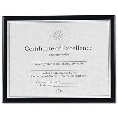 DAX® Value U-Channel Document Frame with Certificates, 8-1/2 x 11, Black