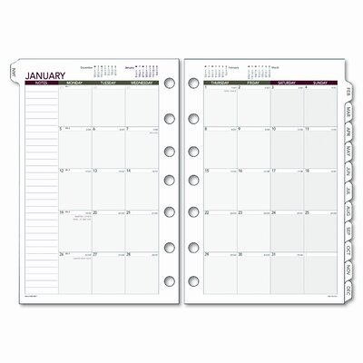 Day Runner Express Monthly Planning Pages Refill, 5-1/2 x 8-1/2, 2013