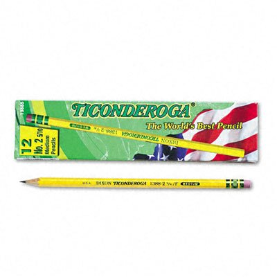Dixon® Ticonderoga Woodcase Pencil, F #2.5, Yellow Barrel, 12 per pack
