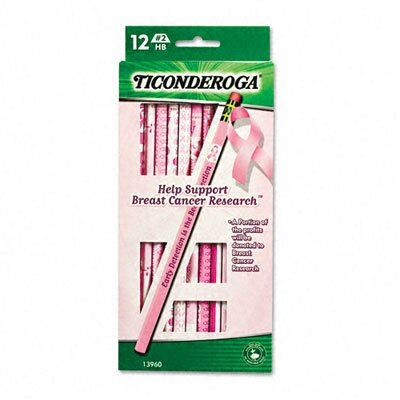 Dixon® Ticonderoga Breast Cancer Awareness Woodcase Pencil, Hb #2, 12/Pack