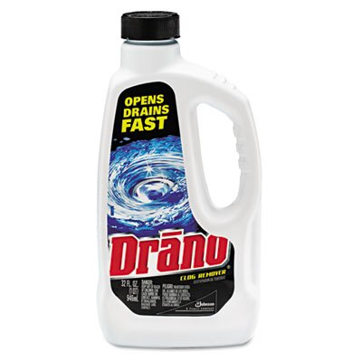 DRACKETT PROFESSIONAL                              Drano Liquid Drain Cleaner, 32 Oz Safety Cap Bottle, 12/Carton