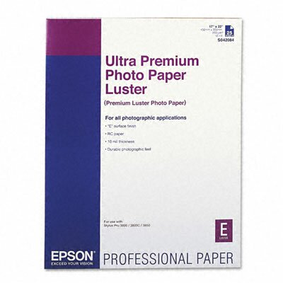 Epson America Inc. Luster Ultra-Premium Photo Paper, 17 x 22, 25 Sheets per Pack