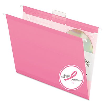Esselte Pendaflex Corporation Ready-Tab Colored Reinforced Hanging File Folders, Letter, Pink, 25/Box