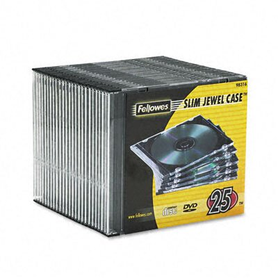 Fellowes Mfg. Co. Thin Jewel Case, 25/Pack