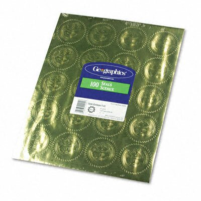 "GEOGRAPHICS                                        Gold Foil Embossed ""Official Seal of Excellence"" Seals, 100/Pack"