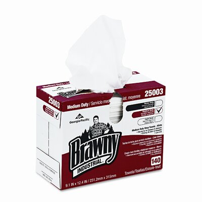 Georgia Pacific Brawny Industrial Medium Duty Shop Towels, 140/Box
