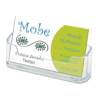 "Deflect-O Corporation Horizontal Business Card Holder, 3 3/4""w x 1 7/8""h x 1 1/2""d, Clear"
