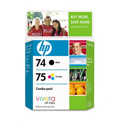 HP CC659FN (HP74, HP75) Inkjet Cartridge, 2/Pk, Black, Tri-Color