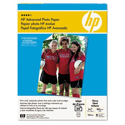 HP Glossy Advanced Photo Paper, 5 x 7, 20 Sheets per Pack