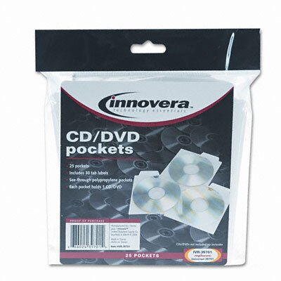 Innovera® CD/DVD Pocket, 25/Pack
