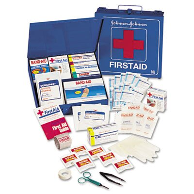 Johnson & Johnson Industrial First Aid Kit for 50 People, 225 Pieces, Metal Case