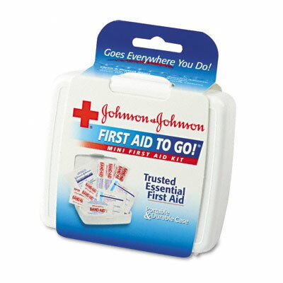 Johnson & Johnson Mini First Aid To Go Kit, 12 Pieces, Plastic Case
