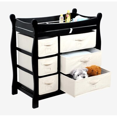 Badger Basket Sleigh Style Baby Changing Table with 6 Baskets