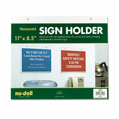 Nudell Plastics Horizontal Wall Sign Holder, Acrylic, 11 x 8-1/2