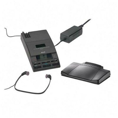 "Philips Speech Processing Mini Cassette Transcription System, 5-1/3""x9-1/10""x2"", Black"