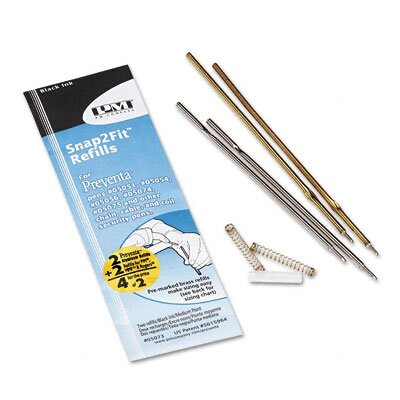 PM Company Refill for Preventa, MMF Kable and Sentry Counter Pens, Medium, Black, 2/pack