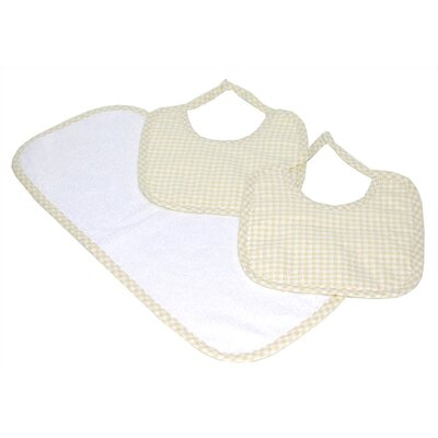 Tadpoles Tadpoles Classics Three Piece Bib & Burp Cloth Gift Set in Natural