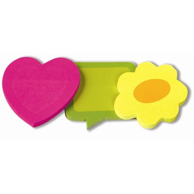 Redi-Tag Corporation 3 Pack Removable 2-Tone Paper Notes in Heart, Flower