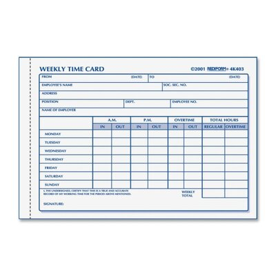 Rediform Office Products Employee Time Card, 100/Pad