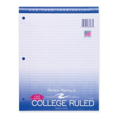 "Roaring Spring Paper Products Filler Paper,College Ruled,11""x8-1/2"",3HP,150 Sh/PK,White"