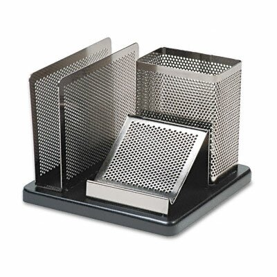 Rolodex Corporation Distinctions Desk Organizer, Metal/Wood, 5 7/8 x 5 7/8 x 4 1/2, Black/Silver