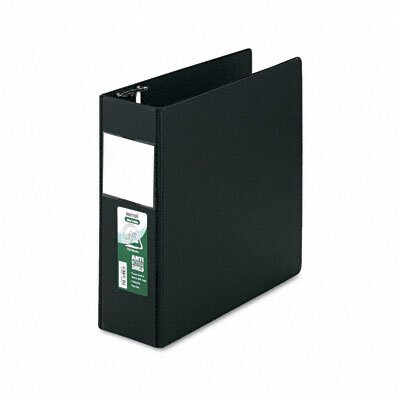 Antimicrobial Locking D-Ring Binder, 8-1/2 x 11, 4in Cap, Black