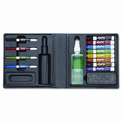 Sanford Ink Corporation Low-Odor Dry Erase Marker, Eraser & Cleaner, Chisel/Fine, 12/Set